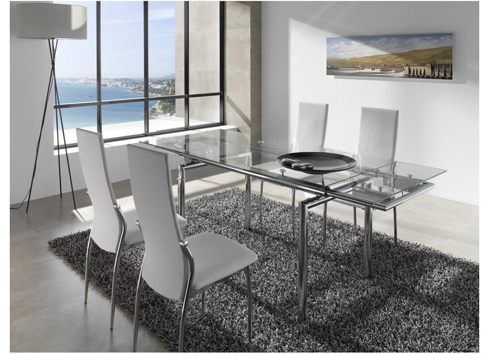 Comprar mesa extensible cristal laos precio mesas for Decorar una mesa de comedor de cristal