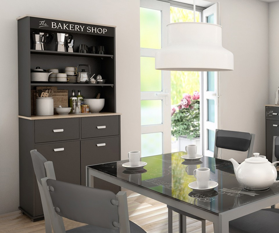 Mueble alto con dos puertas y dos cajones bakery comprar for Mueble auxiliar alto