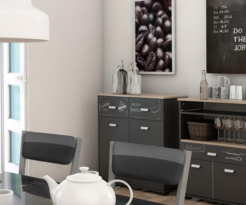 Mueble auxiliar dos puertas dos cajones y estante takery for Estanteria auxiliar cocina