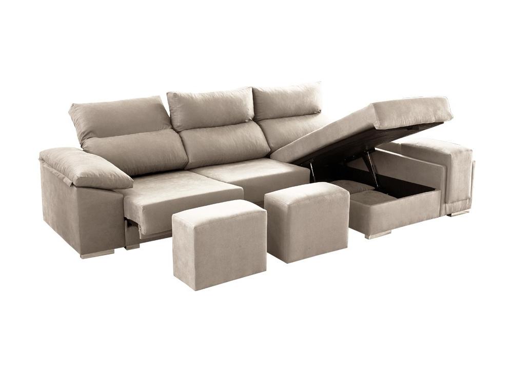 Sofá con chaise longue con arcón Tempo