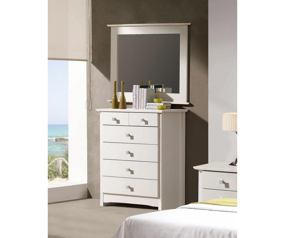 Comprar espejo marco blanco bari precio espejos for Espejos con marco de madera blanco