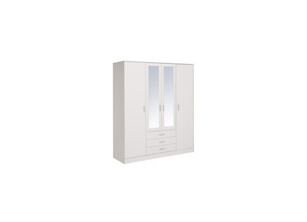 Armario cuatro puertas blanco y espejo Oslo