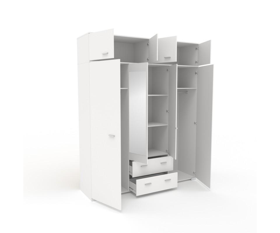 Comprar armario cuatro puertas con espejo y altillo alax - Armarios con altillo ...