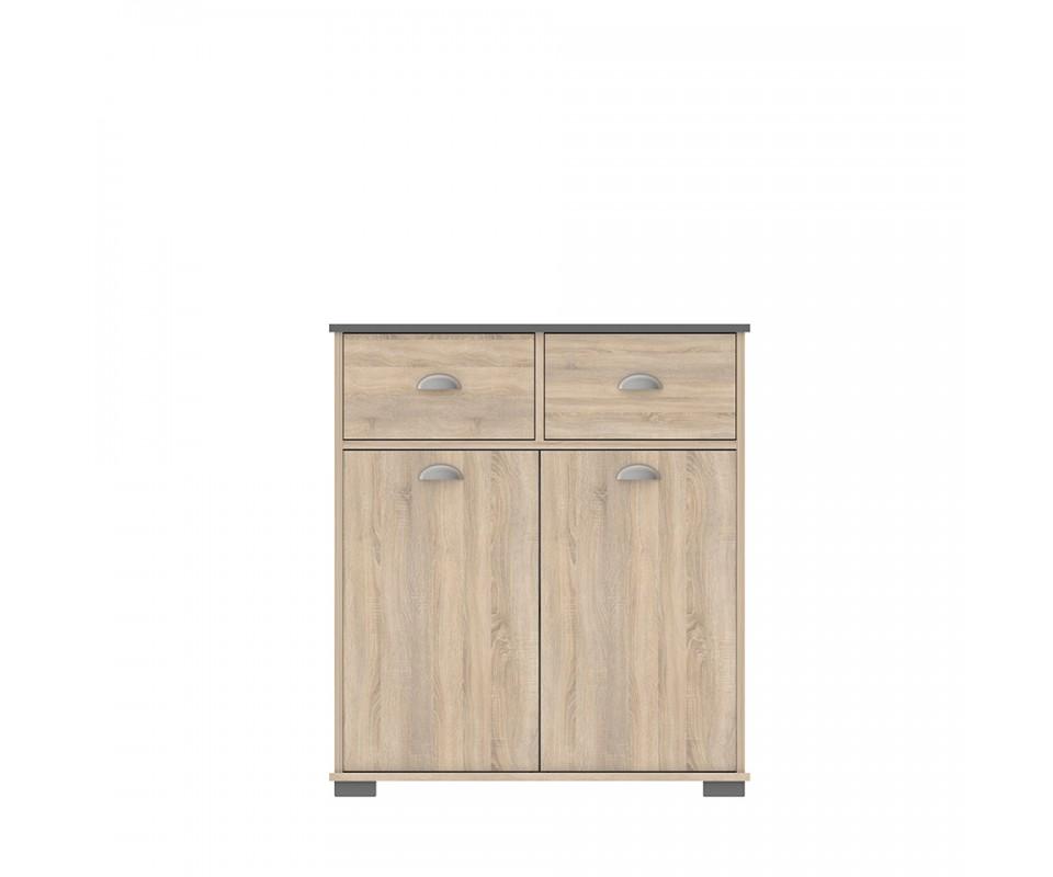 Mueble auxiliar dos puertas dos cajones y estante takery for Mueble dos puertas