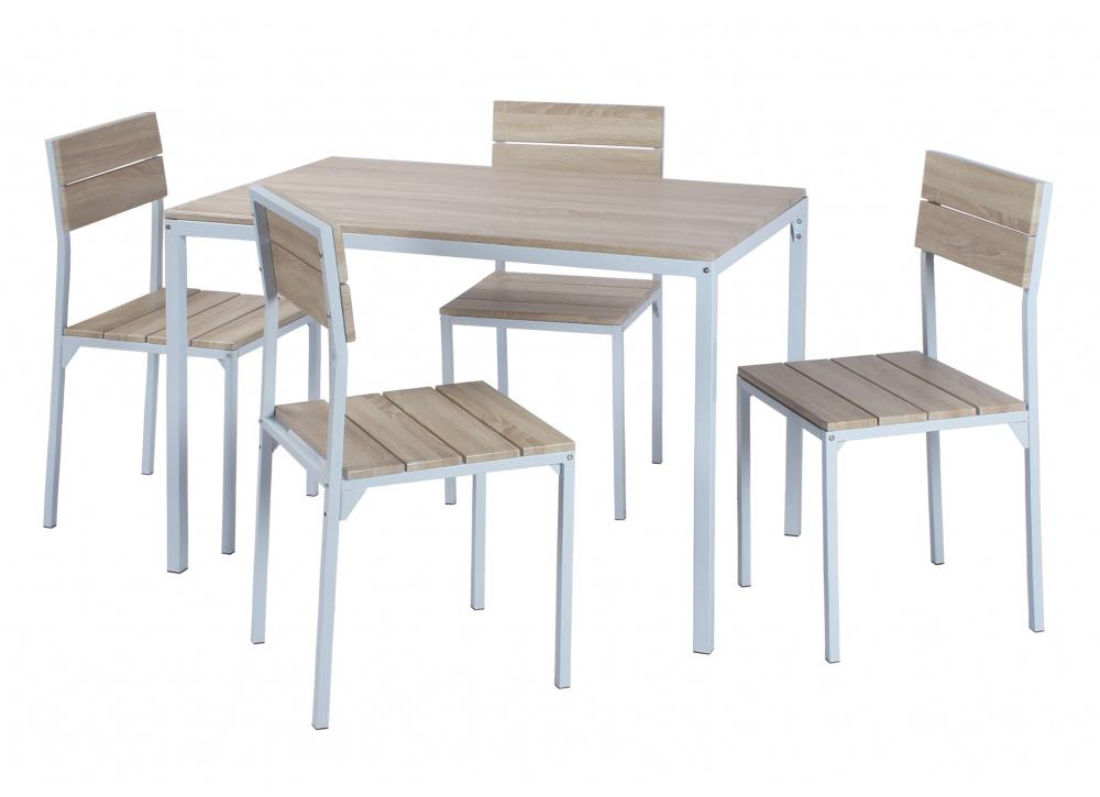 Mesa y cuatro sillas de comedor Ebro White